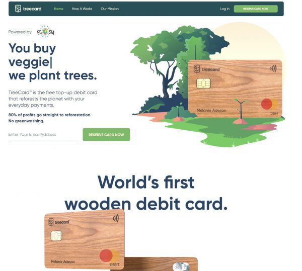 TreeCard – this free debit card plants trees when you shop