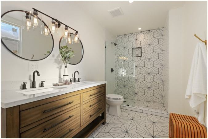 bright bathroom with patterned tile