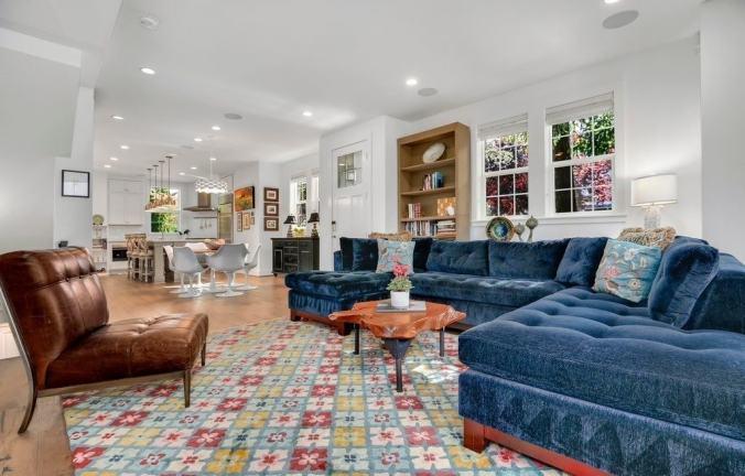 blue velvet couch pattern rug gradmillenial design trend