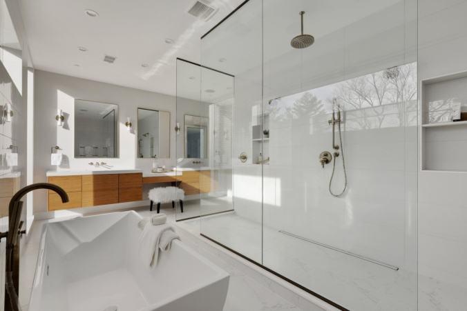 Sleek white bathroom