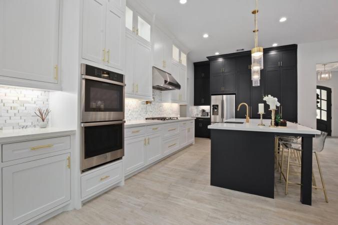 designer kitchen black cabinets