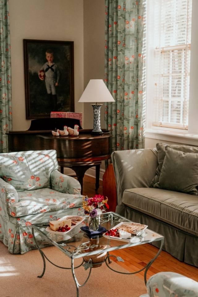 Grandmillennial Style Floral Chair floral curtains