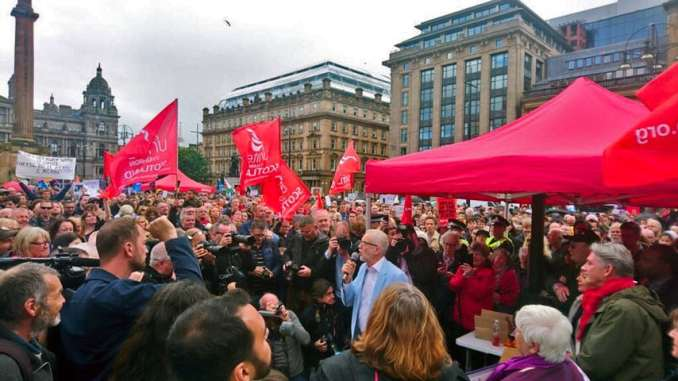 Jeremy Corbyn speaking at a Stop The Coup protest in Glasgow, 31st August 2019