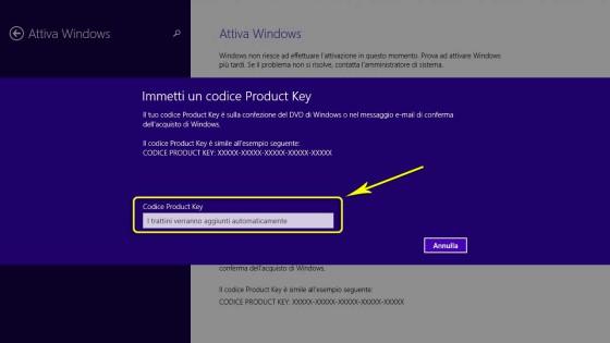 Attivare Windows: Schermata di richiesta codice