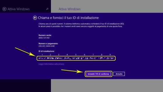 Attivare Windows: Attivazione telefonica