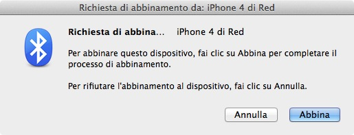 Abbinamento bluetooth di un iPhone 4