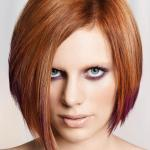 Copper color bob hair cut