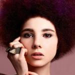 Afro American Hairstyle with eggplant hair color