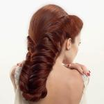 Long thick double braided chestnut hairstyle