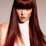 Long chestnut hair color hairstyle with bangs