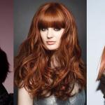 diferent red hairstyles with thick bangs