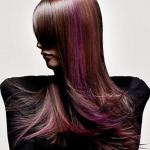 Long layered hairstyle with aubergine color strands