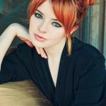 Ginger updo with bangs