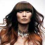 Long auburn ombre hairstyle for Asian women