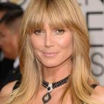 Long blonde hairstyle with bangs