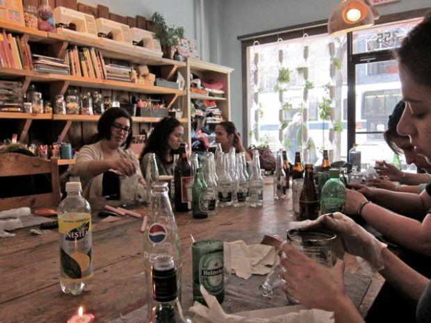 Recycled Beer Bottle Glasses | Red-Handled Scissors