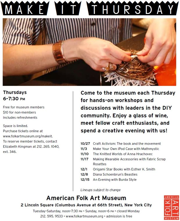 Event Tomorrow: Make It Thursday at the American Folk Art Museum | Red-Handled Scissors