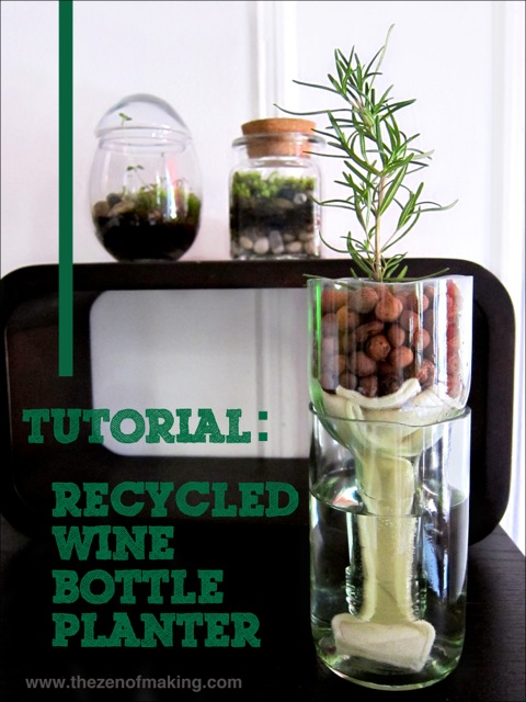 Tutorial: Recycled Wine Bottle Planter | Red-Handled Scissors