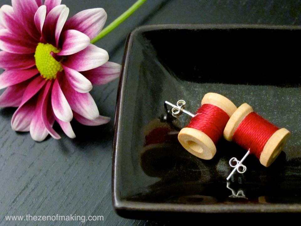 Tutorial: Wooden Spool Earrings | Red-Handled Scissors