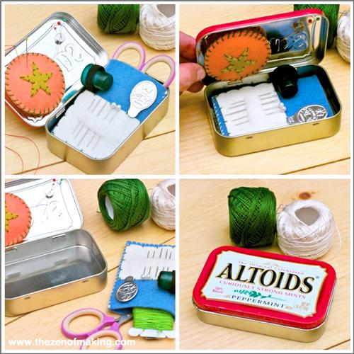 Tutorial: Altoids Tin Travel Embroidery Kit for Craftzine.com | Red-Handled Scissors