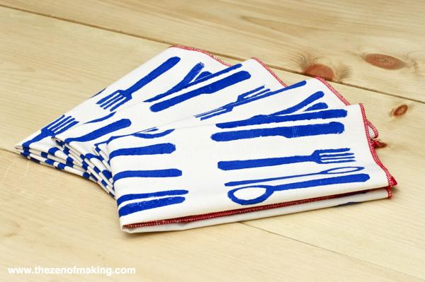 Tutorial: Modern Block Printed Napkins | Red-Handled Scissors