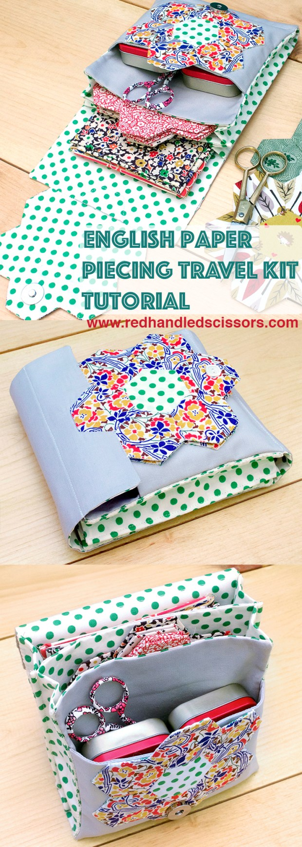 Tutorial: English Paper Piecing Travel Kit, Hexies Part 3: Hexie obsessed? Get your quilting fix on the go with part 3 of my English Paper Piecing tutorial series: the English paper piecing travel kit!