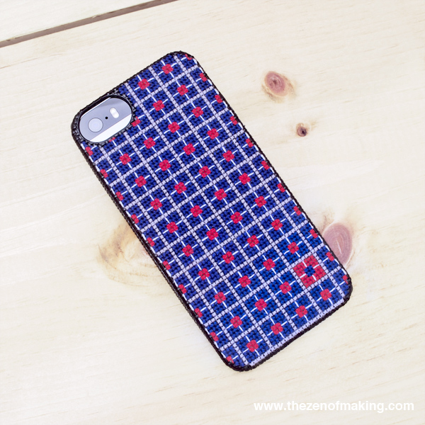 Pattern: Geometric Color Block Cross-Stitch iPhone Case | Red-Handled Scissors
