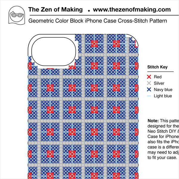 Pattern: Geometric Color Block Cross-Stitch iPhone Case | Red-Handled Scissors