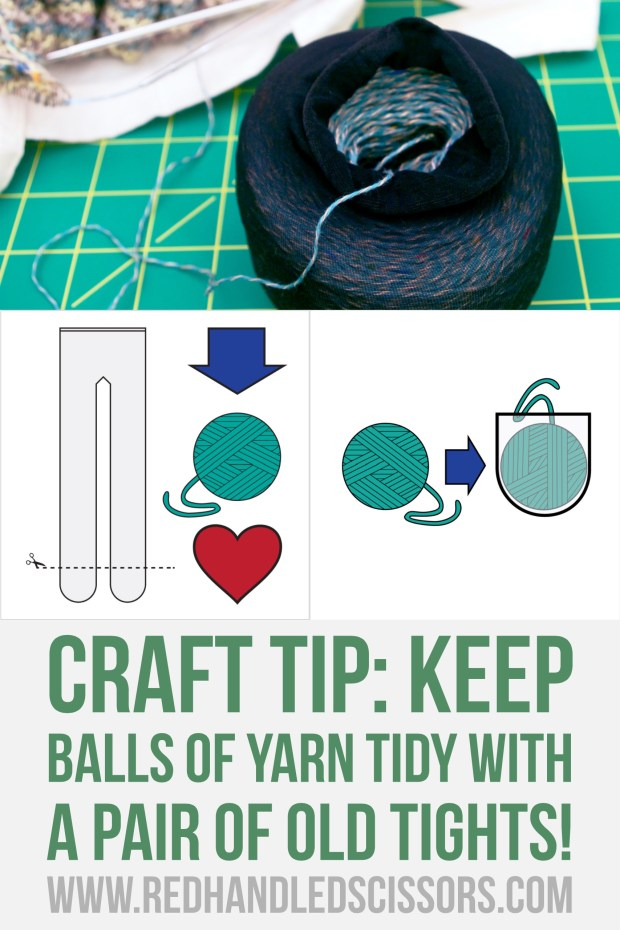 Craft Tip: Keep Balls of Yarn Tidy with a Pair of Old Tights: Yarn running amok? Tights looking rough? Great! Keep your balls of yarn tidy in the toes of a pair of (clean) old tights!
