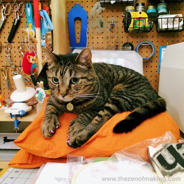 Sunday Snapshot: Stripy Cat Worktable Takeover | Red-Handled Scissors