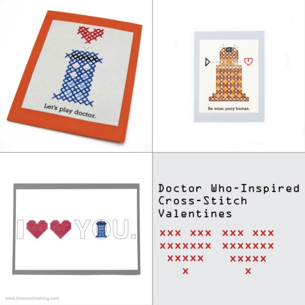 Get Your Geek On: Doctor Who-Inspired Cross-Stitch Valentines