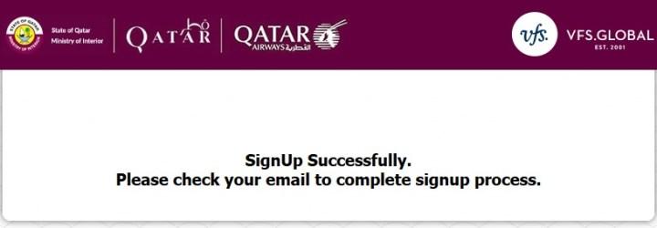 Pesan bahwa proses Sign Up berhasil