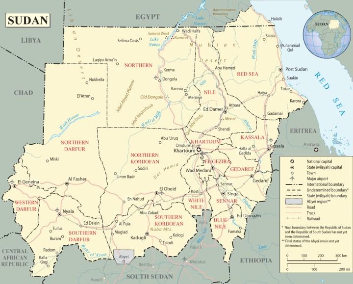 peta negara sudan