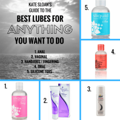 A body of water. Text reads Kate Sloan's Guide to the Best Lubes For Anything You Want To Do. I mage is surrounded by smaller images of lube bottles.