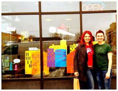 JoEllen and Jennifer Pritchett in front of Smitten Kitten in Minneapolis