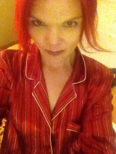 JoEllen in striped red silk pajamas