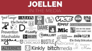 "Graphic reading ""JoEllen in the media"" across the topic and featuring many small logos from media outlets"