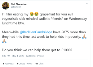 Screenshot of tweet from Neil Bharadwa about fundraising challenge for Red Hen