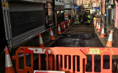 Resurfacing works have begun in Lower Hillgate