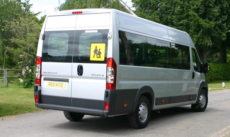 Silver Peugeot Boxer 17 seat minibus
