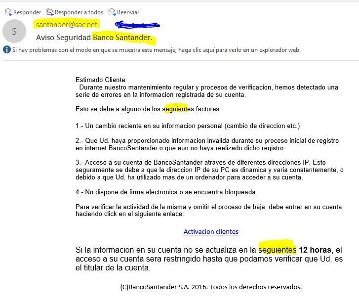 simulando ser Banco Santander