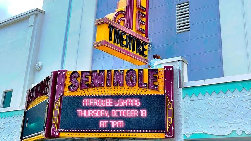 Lighting Celebration for Seminole Theatre Marquee