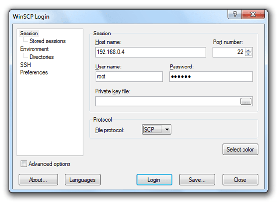 WinSCP on Windows
