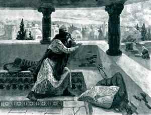King David watching Bathsheba bathe.