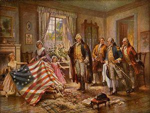 Betsy Ross presents the Flag to Washington