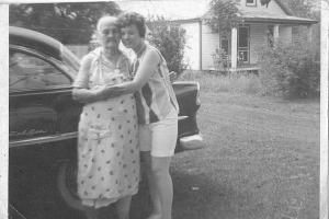 Grandma Brads and my cousin, Maggie about 1966.