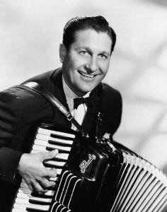 Musician Lawrence Welk Playing an Accordion