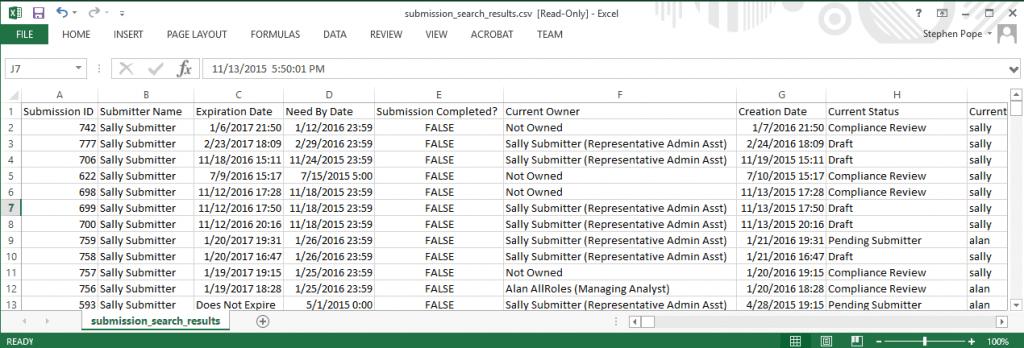 Excel Export