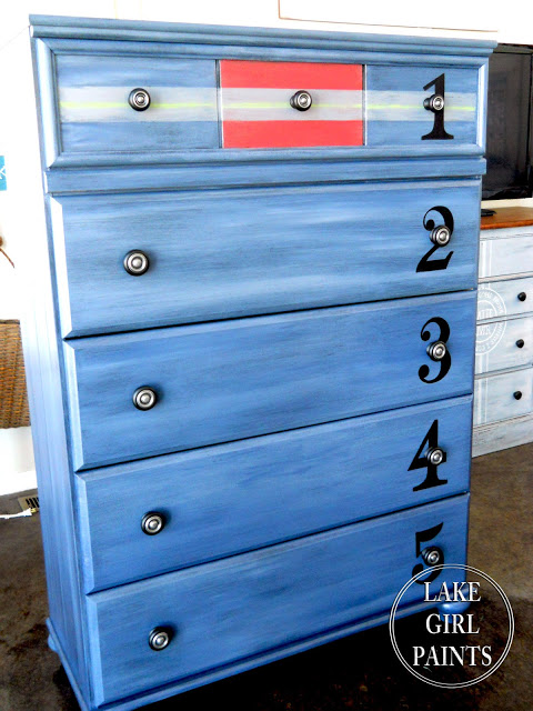 Blue Boys Dresser with numbers and Stripes