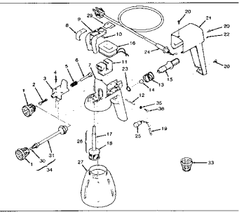 airless paint sprayer in parts